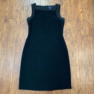 Ann Taylor black sheath dress with white stitching